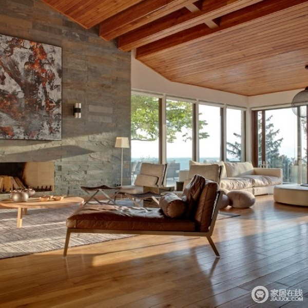 地板铺装巧搭配 国外精彩创意客厅装修_欧式客厅_329