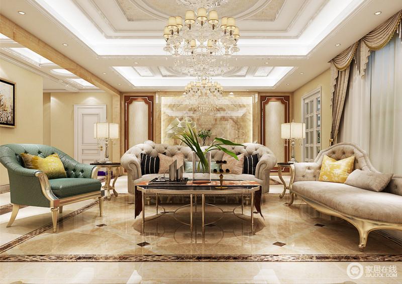 米色漆粉刷墙面与土褐色地砖渲染着暖调,欧式贵妃椅与灰色罗马扣贵妃