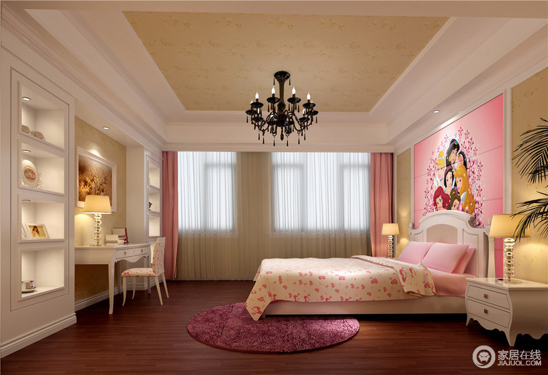 背景墙以粉色迪尼斯少女童真来凸显粉底,搭配卡通床品营造人物心.秦皇岛上美园林景观设计院图片