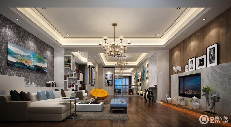 装修图库 客厅 混搭 设计师通过褐木地板和大理石将电视背景墙打造得