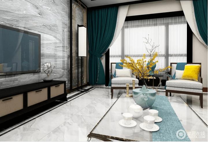 客厅的整体线条和框架以现代为主,带灰色花纹的地砖跟