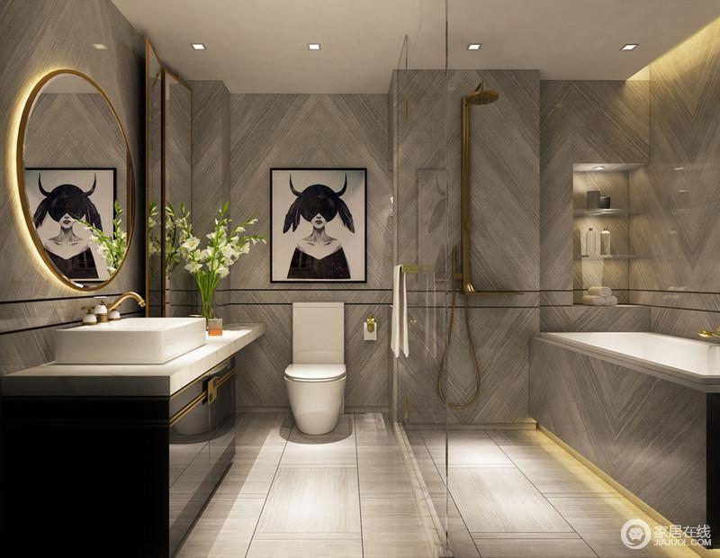 透明的玻璃和圆形的浴室镜,将空间的质感更加放大通透