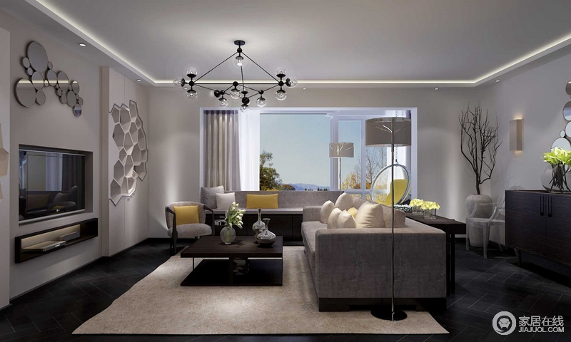 客厅的背景墙巧妙地将书柜的表面设计为多边形,与大小不同,错落地圆形