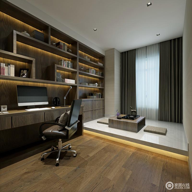 书房延续了墙面书架的设计,增加空间的功能性.