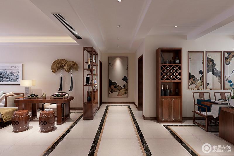 客厅博古架与餐厅酒柜造型呼应,古朴的茶桌与餐桌呼应,体现空间的整体