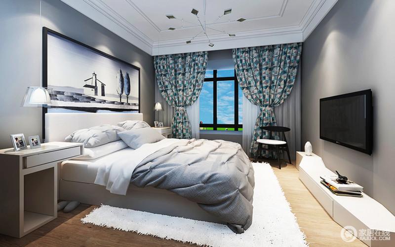 装修图库 卧室选择了跌级吊顶搭配高级灰墙漆,高贵的像一个绅士.