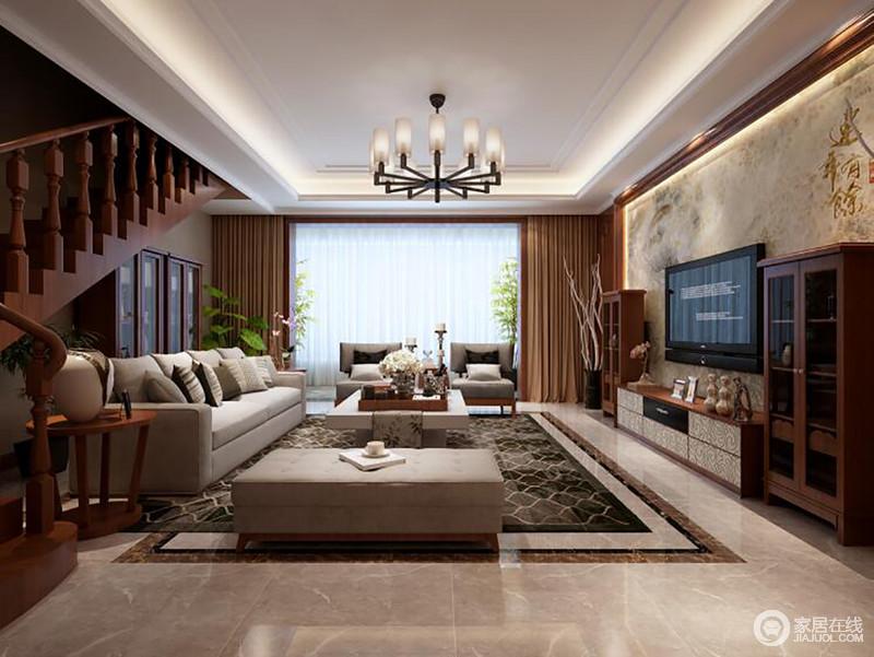 客厅以大理石背景墙来营造恢弘感,新中式实木立柜对称