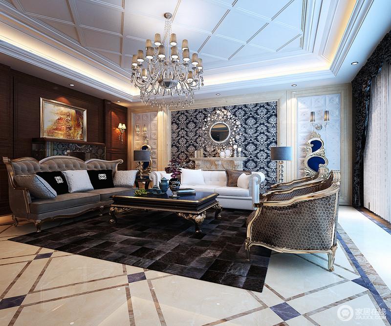 客厅 欧式 深色系的客厅在华丽质感的装饰渲染下,演绎时尚轻奢.