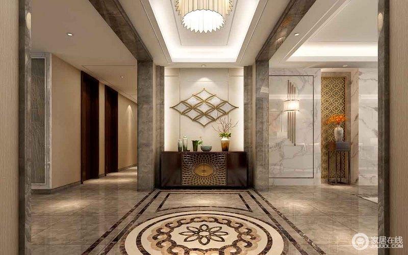 灰色大理石材加重结构感,与拼花地面呈一派高冷和优雅,让原本单调的
