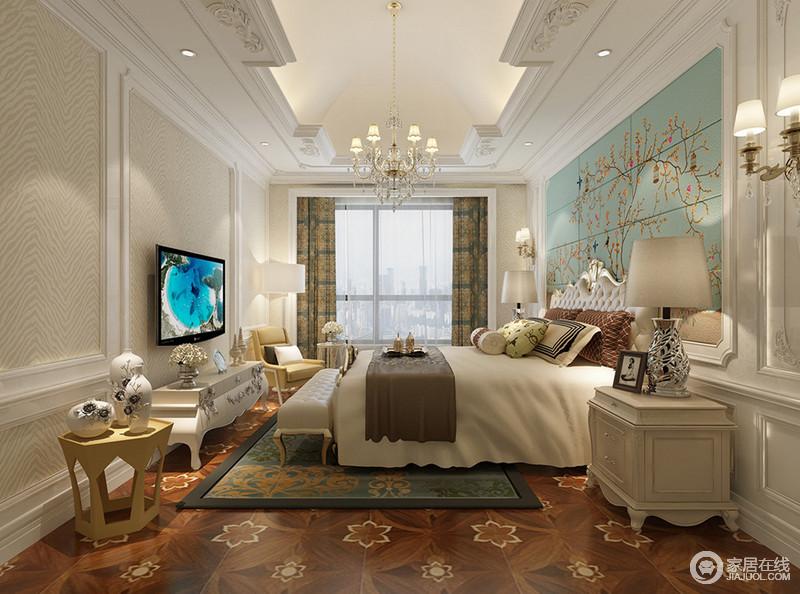 缤纷地毯及拼花木地板,在欧式家具的装点下,卧室展现  空间 风格