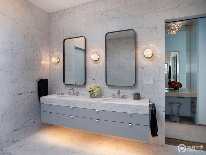 装修图库 卫生间 现代 空间统一采用灰白色砖石,釉面细腻的黑色线条随