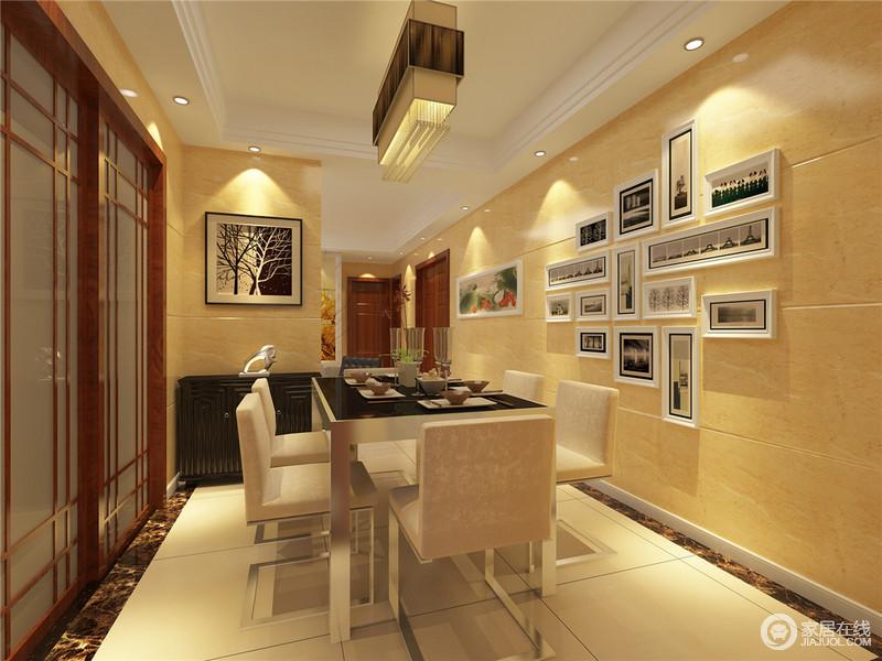 中式元素的木质推拉门分隔厨房与餐厅部门,在形式上与主题呼应.