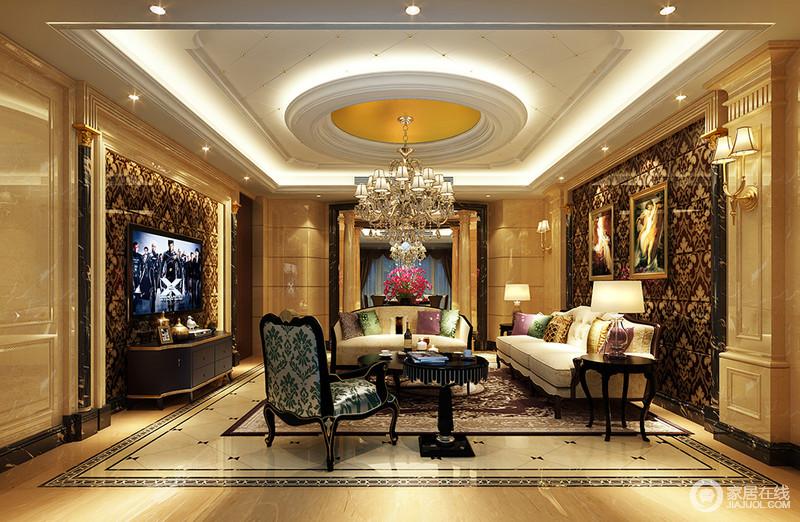 装修图库 客厅 欧式 突显华贵质感的大理石造型墙板打底,背景墙对称
