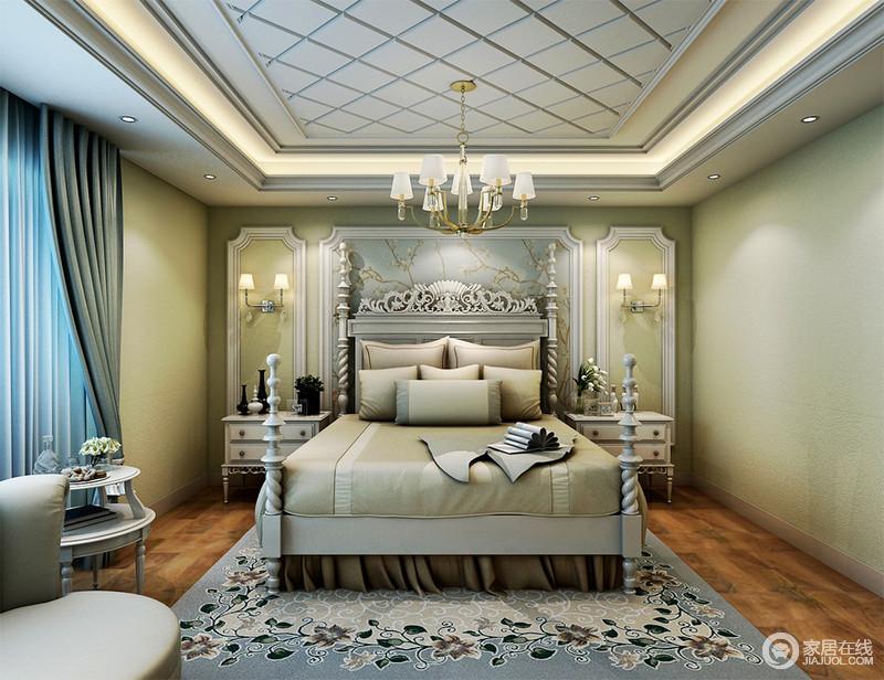 装修图库 卧室 欧式 精致雕花栩栩如生衬托着旋转塔柱床,浅绿色的床品