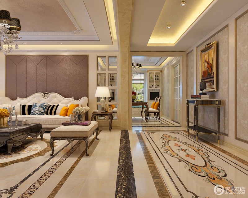 优美的地面拼花透着高贵精致,宛如地毯的铺展,将视觉延伸至餐厅空间图片