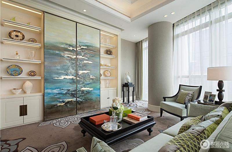 装修图库 休闲室 休息室中豆绿色的沙发浇灌着空间,满是生机,置物柜将