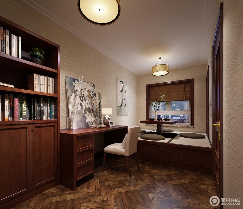 装修图库 混搭 狭长型的书房,设计师运用了榻榻米造型,将休闲娱乐与办图片