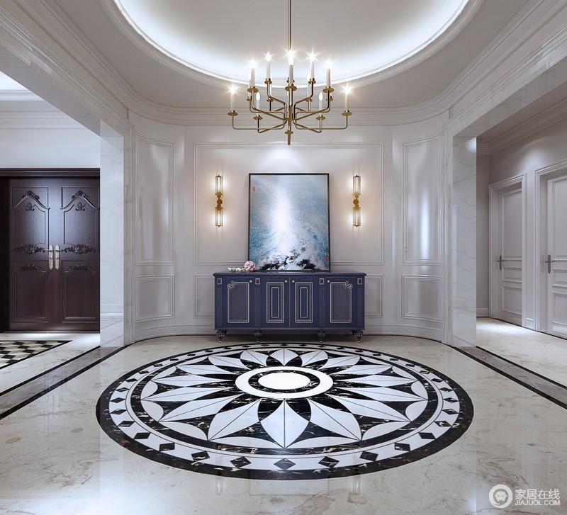装修图库 玄关 欧式 一层的玄关以弧形的椭圆造型设计,墙面呼应客厅的