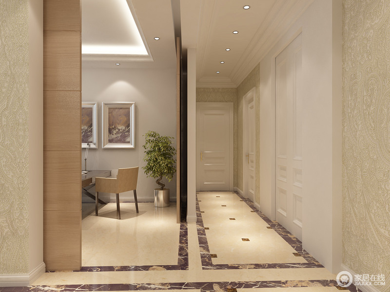 装修图库 门厅 欧式 走廊天花装置了一排射灯,营造出的顶光源打照在