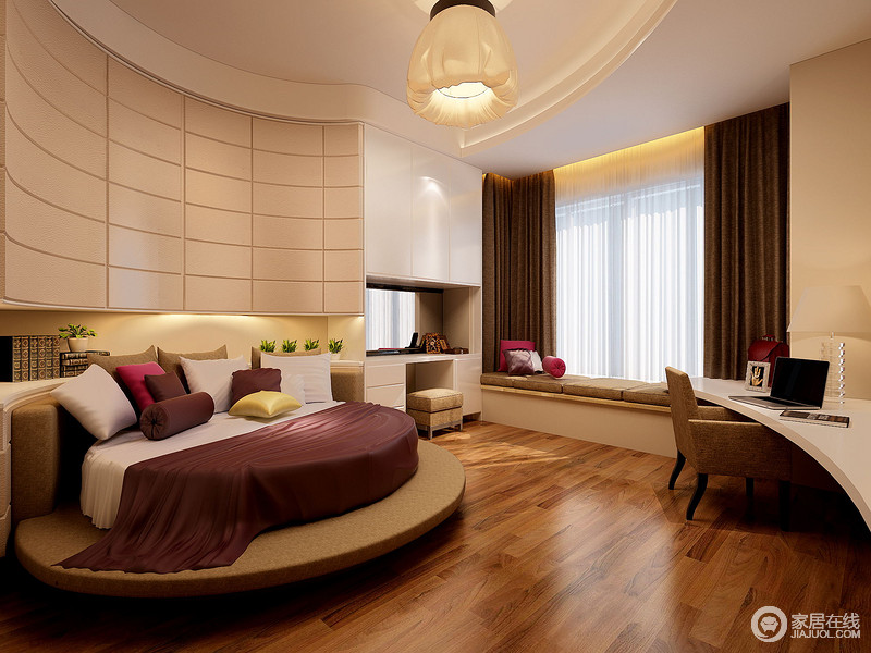 卧室因为建筑结构上的不规则而采用白色烤漆板来打造出背景墙的几何