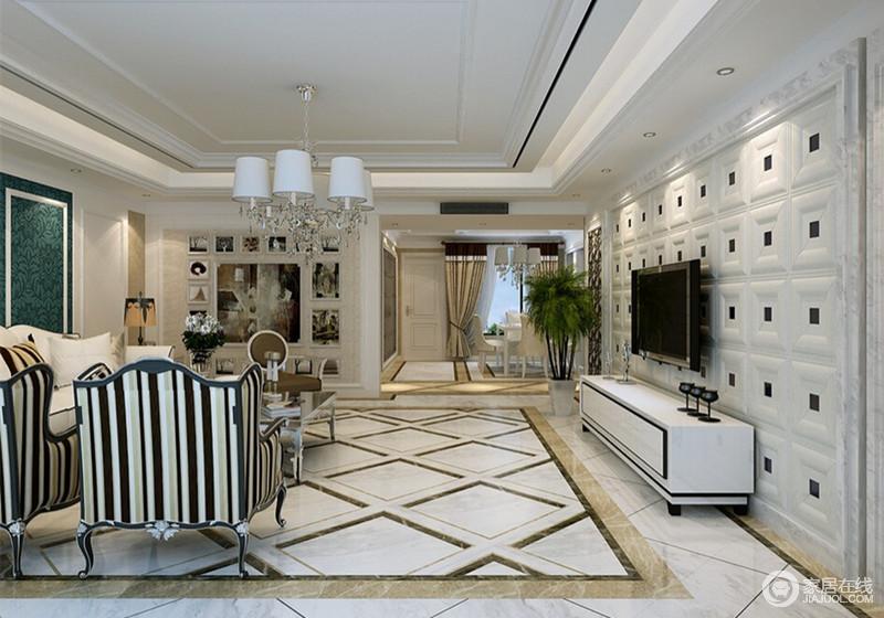 菱形大理石瓷砖体现出欧式本应该有的粗放大气,欧式复古吊灯和条纹