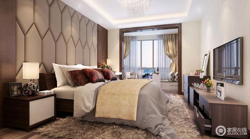 卧室以咖色皮包造型背景墙来添置复古元素,灰色床品上