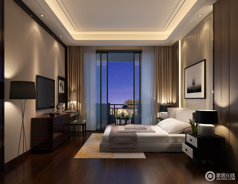 褐色边柜等现代家具而更显丰富;背景墙以素色几何线条而打破单调,黑色
