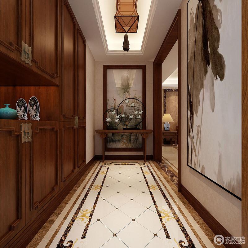 走廊白色菱形地砖和拼花砖石装饰出轻奢,新中式收纳柜
