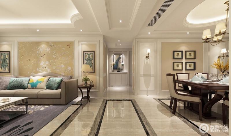 背景墙的对称装饰形成视觉上的雅致平衡;客厅墙画的装饰与端景墙上的