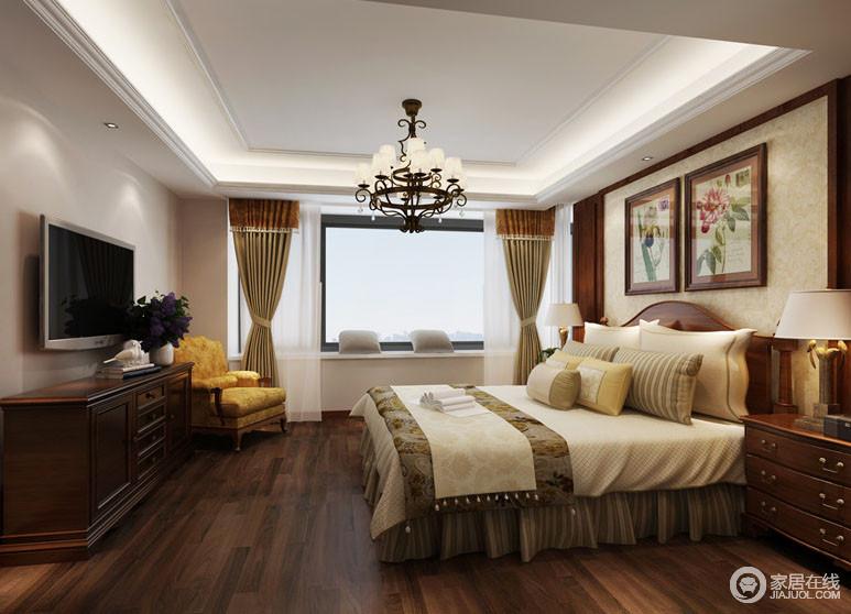 90㎡三居室小美式的温馨生活,客厅与餐厅色彩美极地板