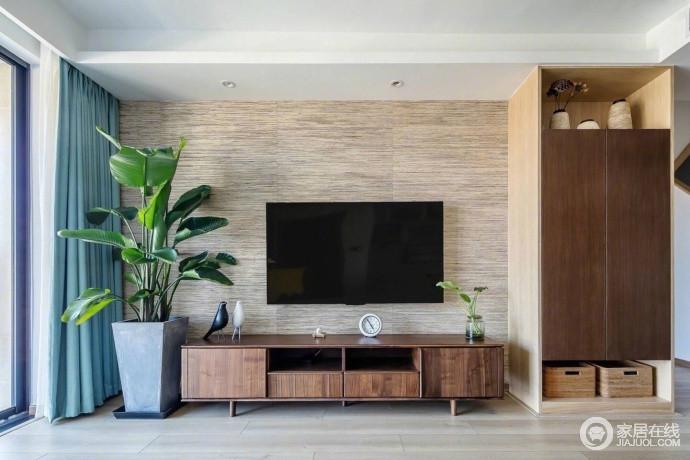 简简单单的电视木质墙,细致地侧柜,以及实木电视柜构成背景a电视,墙纸环保麻色调多少钱一平方图片