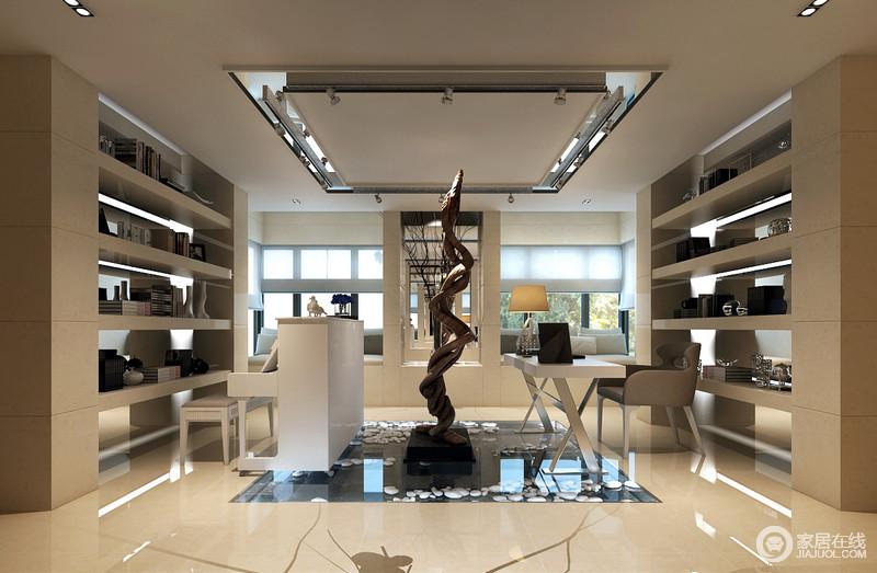 设计师将石材质感的书架以对称方式陈列出结构感,在之图片