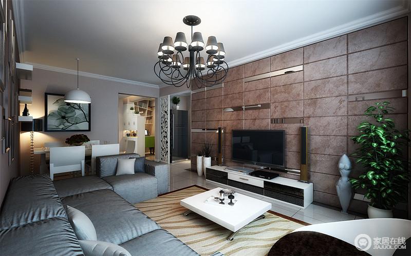 客厅以赤红色砖墙来体现几何美学,与乳色地砖呈呼应,暗灰沙发增添现代