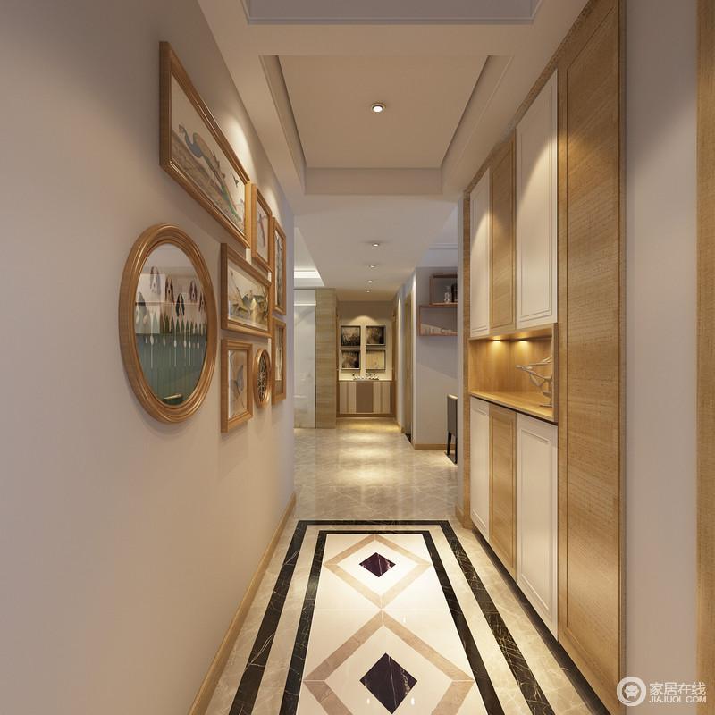 门厅入户走廊直通卧室,照片墙和储物柜主打空间设计,.图片
