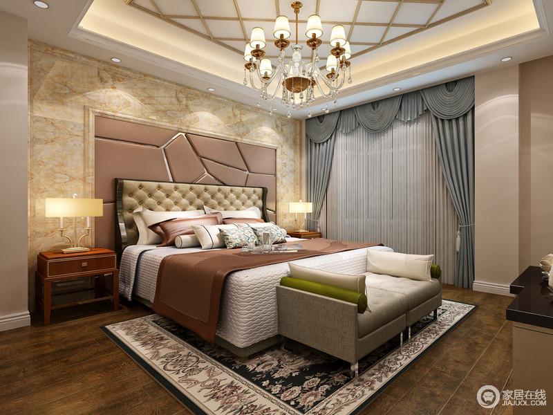 装修图库 卧室 欧式 大理石做背景墙增添了富丽堂皇之意,拼接嵌入式不