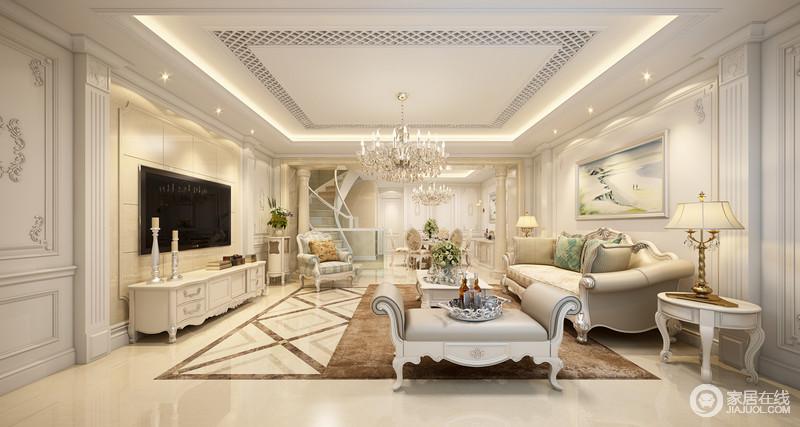 装修图库 客厅 欧式 客厅将白色和淡黄色糅合起来,塑造了一个古堡级的