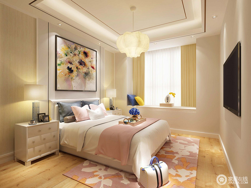 裝修圖庫 臥室 女孩子的房間里以甜美粉色系為主,搭配清新素雅的白色