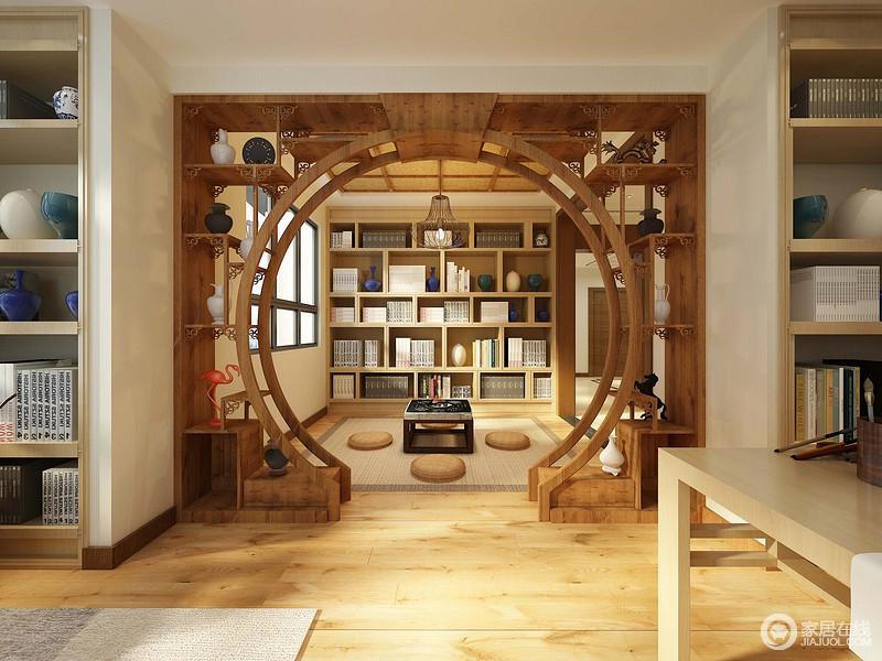 装修图库 休闲室 中式 拱形博古轩架连接了书房和休闲茶室,温润的原木