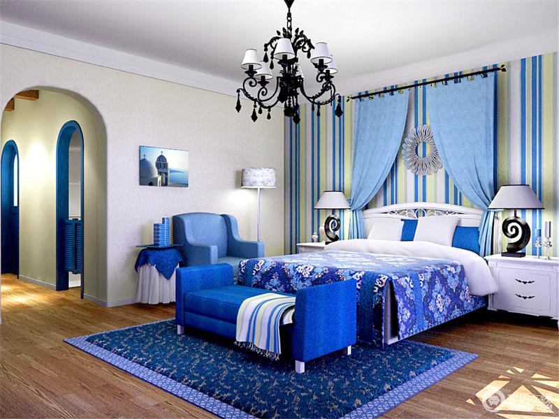 蓝白与淡壁纸背景条纹以活泼的黄色,与浅蓝色窗帘共造形式墙的v壁纸装修贷款审批表图片