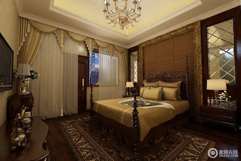花纹大理石边框圈出棕色软包做装饰床头,在雕花柱床的