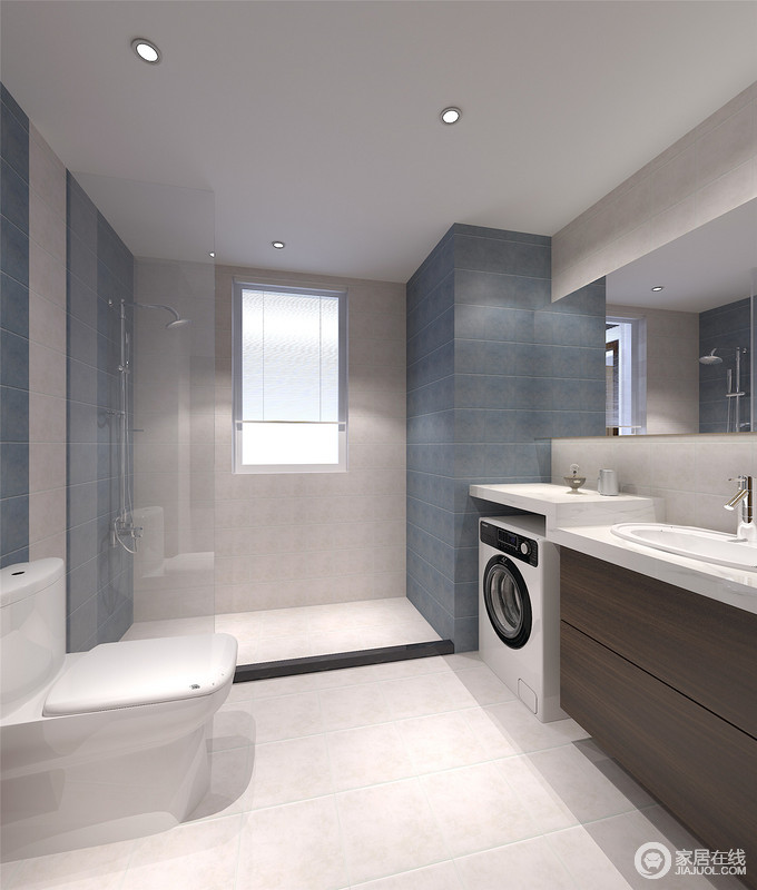 卫浴间以灰白色瓷砖铺贴地面,并通过蓝色墙砖来搭配出