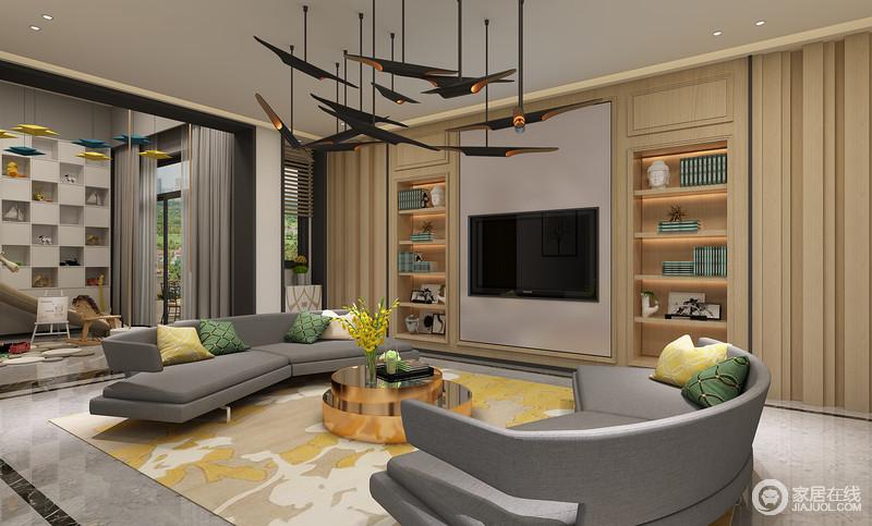 开放式设计将主人的生活需求充分实现,运用木质收纳柜式的背景墙,将图片