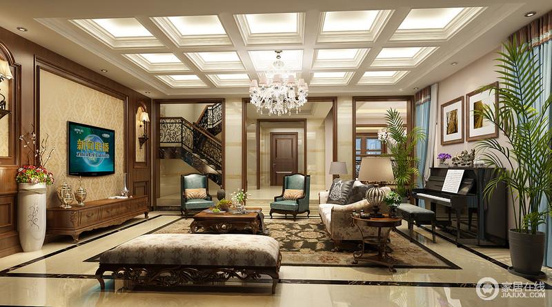 装修图库 欧式 客厅格子天花散发着璀璨光华映照一室,突显出空间的