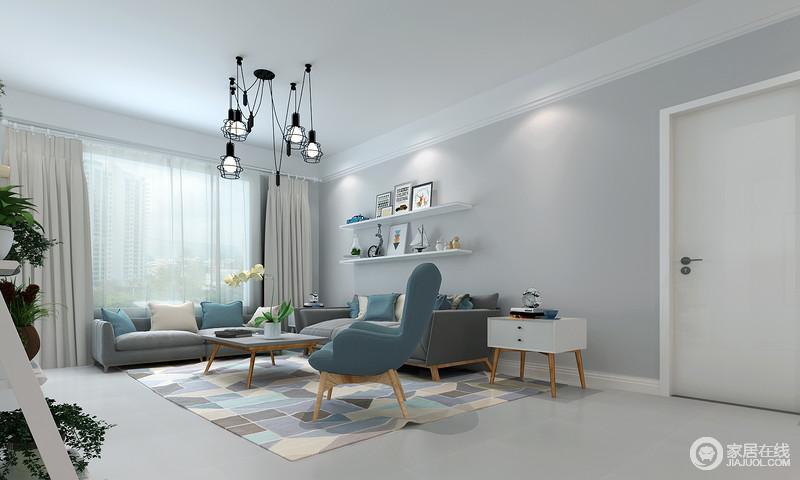 呼应的靠包与沙发椅点缀,黑色拙朴温和的全境,封锁现代的吊灯材质木质设计ui设计素材图片