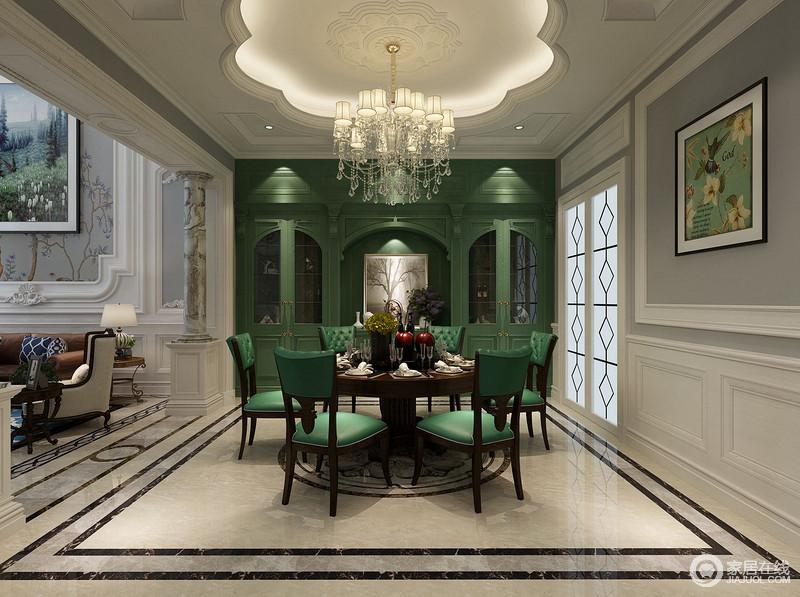 装修图库 餐厅 欧式 花瓣型的吊顶增加了空间中的建筑形式,白色立面