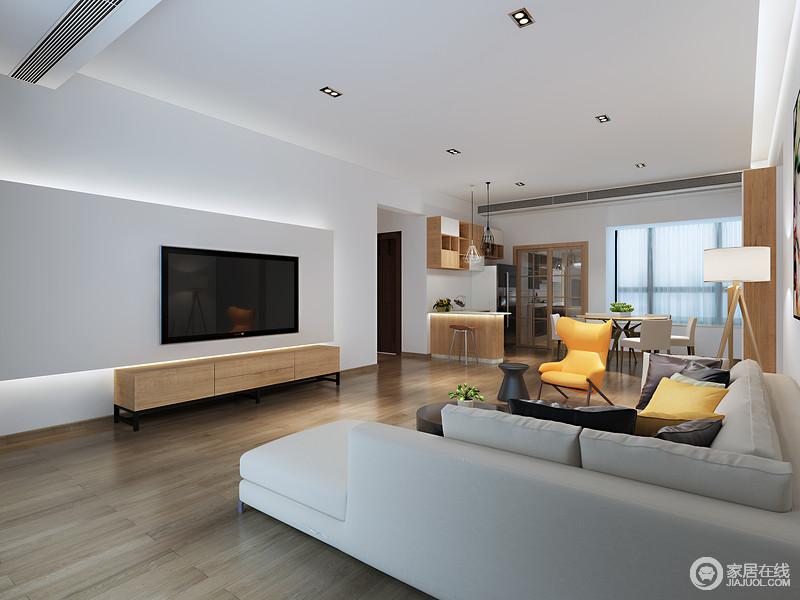 石膏背景墙的矩形设计因为灯带凸显出线条之美,实木电视柜与之呈规整