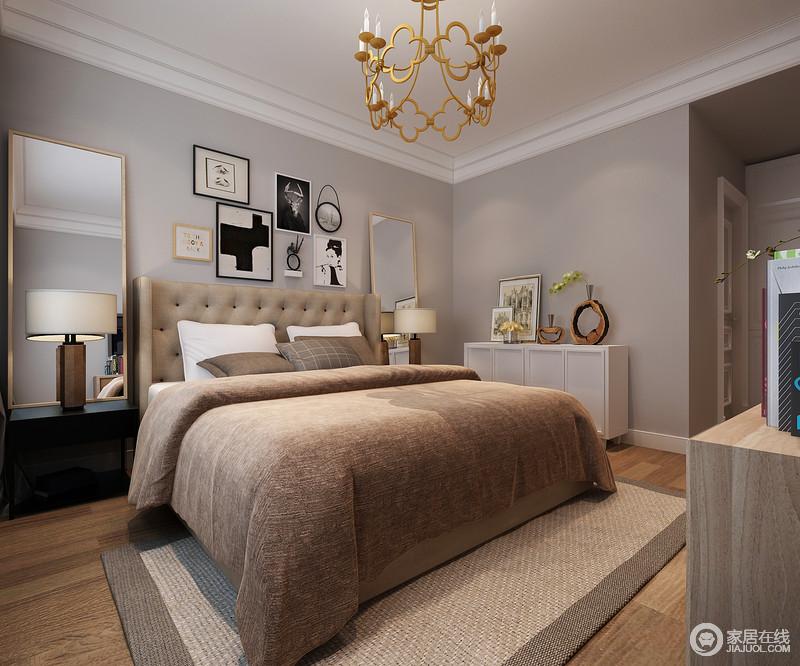 装修图库 欧式 现代风格的卧室,中性灰的墙面有效凸显空间内容.