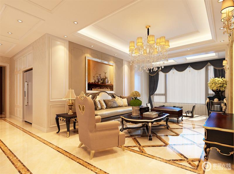 简欧客厅走廊菱形地砖效果图