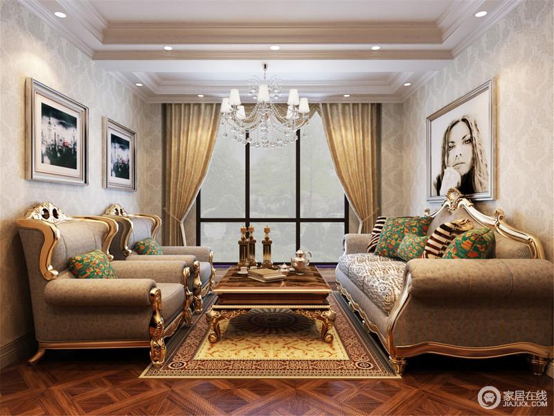 休闲室以灰色花纹壁纸装饰立面,不管是黑白抽象的挂画