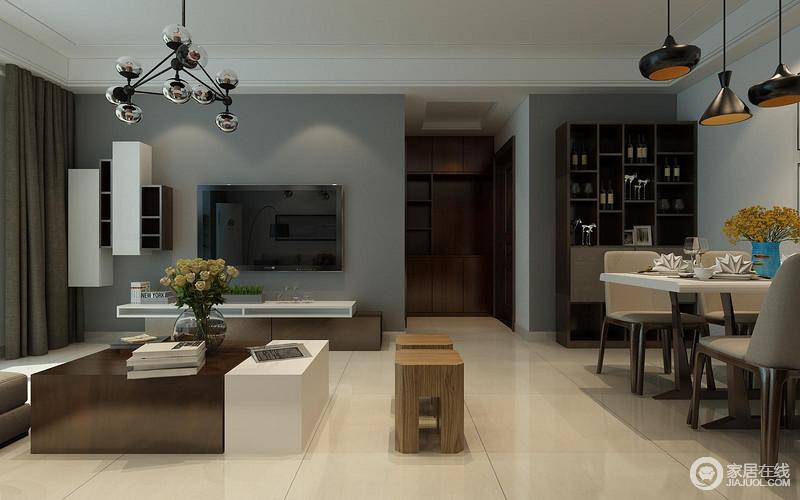 电视柜,茶几形成点缀呼应,棕褐色搭配简白色的方式同餐厅的餐桌椅也